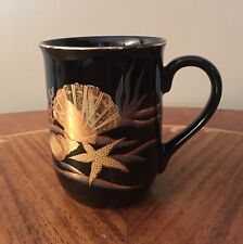 Vintage Otagiri Black & Gold Seashell & Starfish Mug, Japan