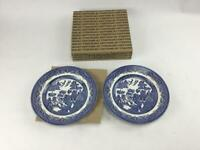 """Churchill Blue Willow 2 Salad Plates New 8"""" Dishwasher Microwave Safe England"""