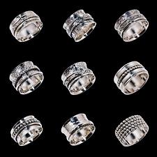 Solid 925 Sterling Silver Handmade Wide Band Fidget Spinner Ring Meditation Ring