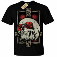 Kids Boys Girls Skull Cross T-Shirt rose gothic rock goth roses dark skeleton