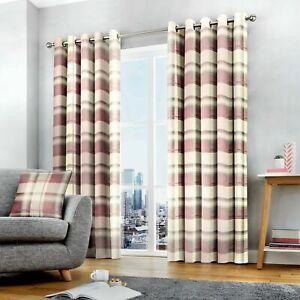 Fusion Balmoral Blush Check Tartan 100% Cotton Fully Lined Eyelet Curtains