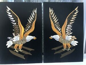 Vintage Eagle Bird Folk Art Silk Embroidery Picture Applied Details Pair