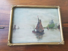 "Antique Framed No. 5 B.S.L. Ships In The Harbor Painting On Board 9 3/4""x12 3/4"""