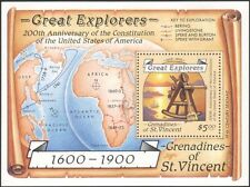 St. Vincent Grens 1988 Ships/Explorers/People/Maps/Sextant/Transport m/s (b3734)