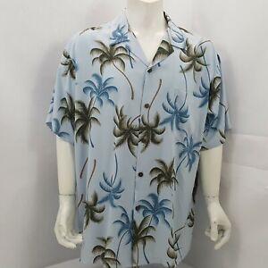 Hawaiian Reserve Collection Mens XL Button Up Aloha Shirt Palm Trees Blue