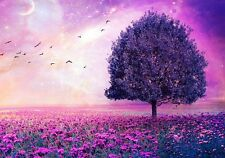 "Pink Sunset - Purple Tree Fantasy Flowers Landscape Large Canvas Picture 20x30"""