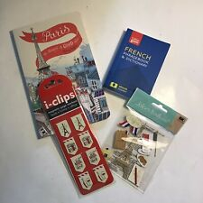 Paris France Travel Gift Set Journal Phrasebook, Stickers, I Clips, Scrapbooking