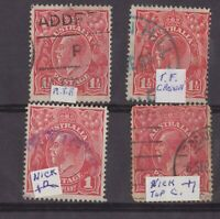 Australia KGV 1½d group x 4 with annotations