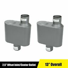 New Listingpair Of 25 Inches Offset Incenter Out Chamber Performance Exhaust Race Muffler