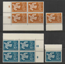 Netherlands, 1961 SG912/3 Europa blocks of 4 with plate numbers, unmounted mint.