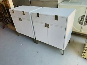 FANTASTIC PAIR OF MODERN WHITE TEXTURED CHESTS WITH BRASS HARDWARE