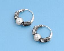 Sterling Silver 925 Bali Hoop Earring 13 mm USA Seller