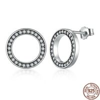 Forever Clear CZ 925 Sterling Silver Circle Round Stud Earrings Pandora Jewelry