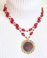 Elegant Baroque Red Rhinestone & Plastic Bead Statement Necklace