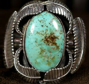 BIG & HEAVY! Navajo NATURAL TURQUOISE Sterling Silver MENS CUFF Bracelet