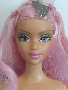 Mattel Barbie Friend Custom Fairy Doll Pink  Hair Green Outfit Super Cute