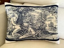 """More details for antique french toile de jouy and linen cushion, """"love and friendship"""""""