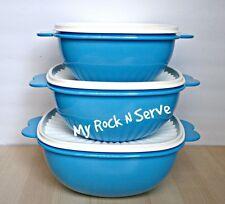 Tupperware Servalier Bowl Set w/ Butterfly Handles 13,10,6 Blue New