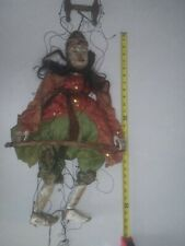 "Antique / Vintage 25"" Wooden Carved Asian Marionette Doll - Jointed hands/ mouth"