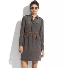 MADEWELL Silk Cinema Dress in Mini-Houndstooth Collar Silk MSRP $165.00 Size 0