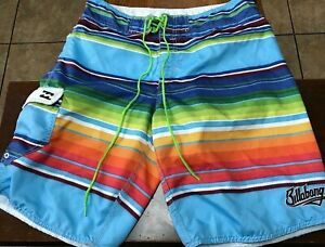 men's Billabong board shorts size 34 green, yellow, blue, red, orange Colorful!