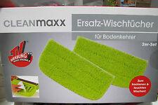 CLEANmaxx Ersatz WischTücher 2er Set für Bodenkehrer Boden klett Tuch TV