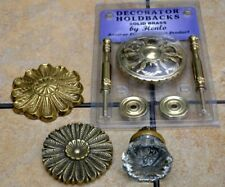 Vintage Brass Curtain Drapery Holdbacks lot & glass door knob