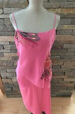 NWOT BCBG Max Azria Hot Pink Silk Dress - Floral Embroidery - Size Large