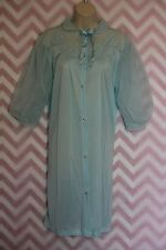 Sears Roebuck Lovely Blue Button-Up Peignoir Gown Size 32 True Vintage Nylon USA
