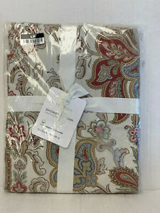 """Pottery Barn Red Charlie Paisley Printed Organic Shower Curtain 72"""""""