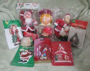 Lot Of Vintage Santa's - Standing Santa, Ornaments, Santa's ELF - New Old Stock