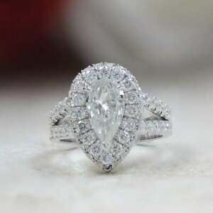2.50 Ct Colorless Pear cut Moissanite Double Halo Engagement Ring 925 Silver