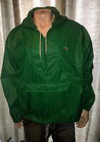 Vintage Izod Lacoste 1/4 Zip Windbreaker Rain Jacket. Front Pocket. Green Mens L