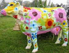KUH COW Parade  mit GLOCKE KUNSTBEMALUNG nicht lebensgroß BLUMEN  DEKO Kühe