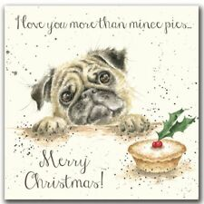 Christmas Card -I Love You More Than Mince Pies -Pug Festive Card by Hannah Dale