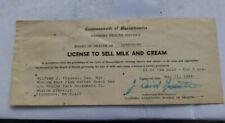 Vintage Whalom Amusement Park Fitchburg MA License Sell Milk Cream Board Health