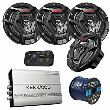 "4-Channel Bluetooth Amplifier, 4x JVC 100 Watt 6.5"" Coaxial Speakers, 50Ft Wire"