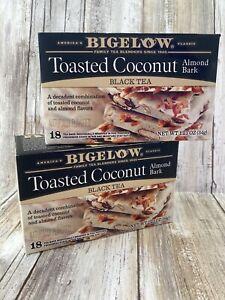 Bigelow Toasted Coconut Almond Bark Black Tea Kosher Non-GMO 18ct - 2 BOXES