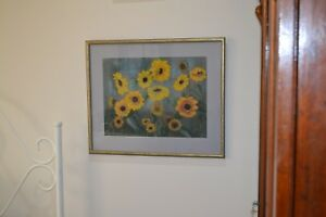 Original pastel drawing of sunflowers gold frame with glass and mat