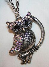 Handsome Shiny Aurora Borealis Rhinestone Hoot Owl Silvertone Pendant Necklace