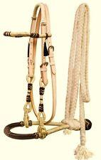 Western Horse Rawhide Core Bosal Hackamore Bridle Headstall w/ Mecate Reins