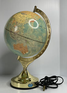 "Vintage 10"" Fucashun 3 Touch Light Setting Globe 16"" Tall w/ Brass Metal Base"