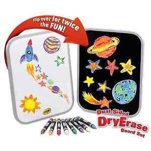 Crayola Dual Sided Dry Erase Board Set Washable Bright Crayons White Board Black