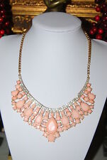 LARGE BOLD RUNWAY BIB NECKLACE CORAL COLOR ACRYLIC STONES RHINESTONES GOLD TONE
