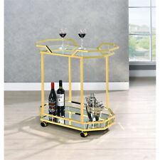Coaster 2-tier Serving Cart Mirror and Brass Gold Modern Other Color