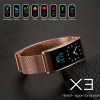 X3 Fitness Blood Pressure Oxygen Heart Rate Monitor Smart Watch Band Bracelet