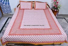 Indian Hand Print Pure Cotton Queen Size Bed Cover Bed Spread With Pillow Set