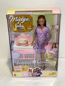 2002 Happy Family Barbie Doll Pregnant Midge & Baby Mom & Newborn Set Mattel NIB