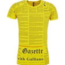 JOHN GALLIANO Beachwear Designer Iconic Gazette Print T-shirt - Made In ITALY