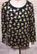 NWT NOBO Womens Gold CAT Tee XL 15/17 Long Sleeve Juniors Black NWT
